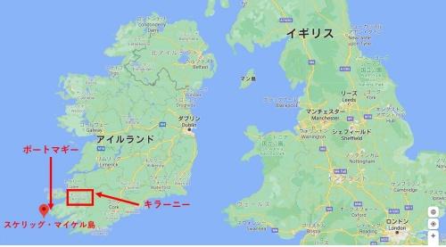 スター・ウォーズ「最後のジェダイ」のルークのロケ地のスケリッグ・マイケル島の地図