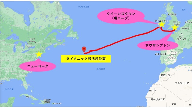 豪華客船タイタニック号の沈没場所の地図
