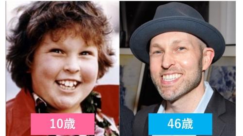 映画『グーニーズ』でチャンク役を演じたジェフ・コーエンの子役時代と現在の比較画像