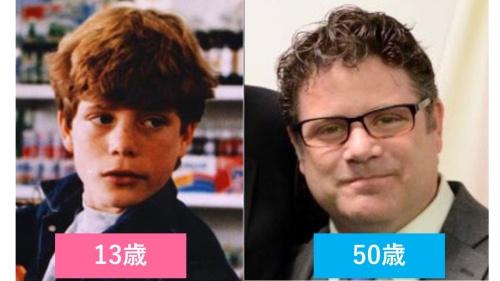 映画『グーニーズ』でマイキー役を演じたショーン・アスティンの子ども時代と現在の比較画像